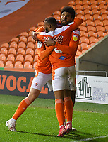 Blackpool's Ellis Simms is congratulated on scoring his sides 2nd goal<br /> <br /> Photographer Dave Howarth/CameraSport<br /> <br /> The EFL Sky Bet League One - Blackpool v Doncaster Rovers - Tuesday 4th May 2021 - Bloomfield Road - Blackpool<br /> <br /> World Copyright © 2021 CameraSport. All rights reserved. 43 Linden Ave. Countesthorpe. Leicester. England. LE8 5PG - Tel: +44 (0) 116 277 4147 - admin@camerasport.com - www.camerasport.com