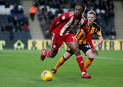 Brentford's Romaine Sawyers holds off Hull City's Max Clark