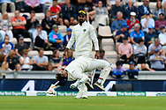 Rishabh Pant of India leaps up off the ground acrobatically during the first day of the 4th SpecSavers International Test Match 2018 match between England and India at the Ageas Bowl, Southampton, United Kingdom on 30 August 2018.