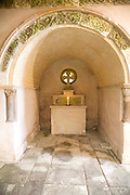 Altar grotto in Italianate garden of landscape gardener Harold Ainsworth Peto created between 1899 and 1933, at Iford Manor, near Freshford, Wiltshire, England