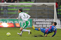 Jeremy CLEMENT / Nicolas SEUBE - 01.02.2015 - Caen / Saint Etienne - 23eme journee de Ligue 1 -<br />Photo : Vincent Michel / Icon Sport