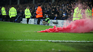 Flares on the pitch during the English Premier League match at Goodison Park, Liverpool. Picture date: December 19th, 2016. Photo credit should read: Lynne Cameron/Sportimage