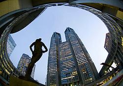 Modern sculpture in front of Metropolitan City Hall in Shinjuku Tokyo
