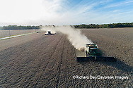 63801-13603 Harvesting soybeans in fall-aerial  Marion Co. IL