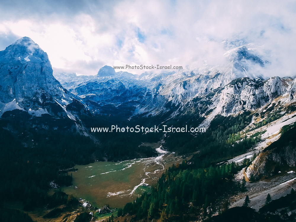 Snowy mountain peaks in the Mountain range in Triglav National Park, Slovenia