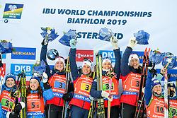 March 16, 2019 - –Stersund, Sweden - 190316 Synnøve Solemdal, Ingrid Landmark Tandrevold, Tiril Eckhoff and Marte Olsbu Røiseland of Norway celebrate afterthe Women's 4x6 km Relay during the IBU World Championships Biathlon on March 16, 2019 in Östersund..Photo: Petter Arvidson / BILDBYRÃ…N / kod PA / 92268 (Credit Image: © Petter Arvidson/Bildbyran via ZUMA Press)