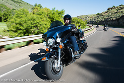 Berbon Martin of Jasper, GA on his 2013 Ultra Limited riding from Steamboat Springs to Doc Holliday's Harley-Davidson in Glenwood Springs during the Rocky Mountain Regional HOG Rally, Colorado, USA. Thursday June 8, 2017. Photography ©2017 Michael Lichter.