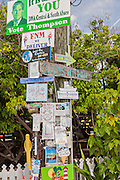 Community bulletin board in the tiny village of Hope Town, Elbow Cay Abacos, Bahamas.