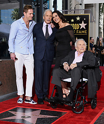 Kirk Douglas Dies At 103 - Cameron Douglas, Catherine Zeta-Jones and Kirk Douglas attend the ceremony honoring Michael Douglas with a star on the Hollywood Walk of Fame in Los Angeles, California on November 6th, 2018. Photo by Lionel Hahn/ABACAPRESS.COM