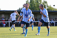 Jack Hayward of Worthing United scores to put his side 1-0 in front and celebrates during before the FA Vase 1st Qualifying Round match between Worthing United and East Preston FC at the Robert Eaton Memorial Ground, Worthing, United Kingdom on 6 September 2015. Photo by Phil Duncan.