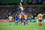 Contesting a lineout during the Rugby World Cup Pool D match between France and Romania at the Queen Elizabeth II Olympic Park, London, United Kingdom on 23 September 2015. Photo by Matthew Redman.