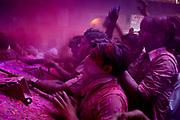 Holi festival, India, on wednesdayday, mar. 11, 2009. people inside the bankey Bihari tempel