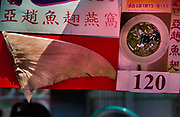 Traditional shark fin soup stall for the Chinese New Year Celebrations in Thanon Yaowarat, the main thoroughfare which threads through Bangkok's Chinatown, Thailand.