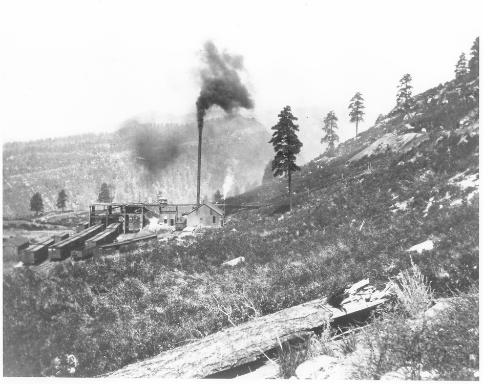 """Boston Coal & Fuel Co. Perins Peak Coal Mine viewed from the south.  This would all be sold to Calumet Fuel Co. in December, 1906.  Mine trackage connected to RGS at Franklin Junction and was operated as the Calumet Branch.<br /> Boston Coal & Fuel Co. (spur from RGS)  Perins City, CO  Taken by Shaler, M. K. - 8/8/1906<br /> In book """"RGS Story, The Vol. XI: Durango and the Perins Peak Branch"""" page 334<br /> Also an enlargement on p. 335 of McCoy's book and in """"Narrow Gauge Pictorial Vol. IX"""", p. 128."""