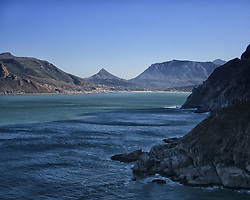 March 18, 2011 - Hout Bay, Western Cape, South Africa - Hout Bay, on the Atlantic Seaboard of South Africa's Cape Peninsula, 20 km south of Cape Town, photographed from Chapman's Peak Drive. The triangular peak (center) is Little Lion's Head. (Credit Image: © Arnold Drapkin/ZUMAPRESS.com)