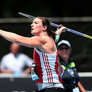 Linda Stahl, Germany, winning the Women's Javelin throw during the Diamond League Adidas Grand Prix at Icahn Stadium, Randall's Island, Manhattan, New York, USA. 14th June 2014. Photo Tim Clayton