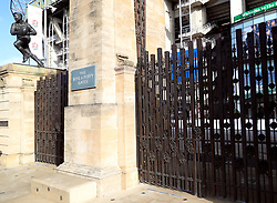 Detail of the Rose and Poppy gate at the stadium ahead of the Quilter International match at Twickenham Stadium, London.