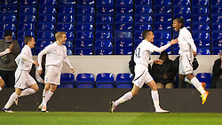 LONDON, ENGLAND - Wednesday, February 1, 2012: Tottenham Hotspur's Shaquile Coulthirst celebrates scoring the first goal against Liverpool with Nabil Bentaleb during the NextGen Series Quarter-Final match at White Hart Lane. (Pic by David Rawcliffe/Propaganda)
