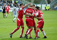 Photo: Paul Thomas.<br /> Huddersfield Town v Swindon Town. Coca Cola League 1. 29/10/2005. <br /> <br /> Swindon Town celebrate Andy Gurney's goal.
