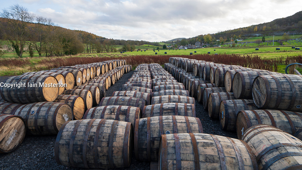View of whisky barrels at Lindores Abbey Distillery in Newburgh, Fife, Scotland, UK