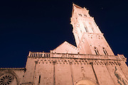 Cathedral of Saint Lawrence at night, Trogir, Dalmatian Coast, Croatia