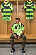 Reece Brown signs a contract with Forest Green Rovers  at the New Lawn, Forest Green, United Kingdom on 1 June 2017. Photo by Shane Healey.