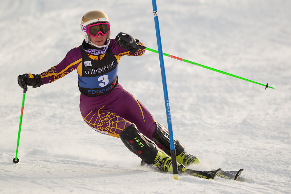 Shannon Campbell of Williams College, skis during the second  run of the women's slalom at the University of Vermont Carnival at Burke Mountain on January 26, 2014 in East Burke, VT. (Dustin Satloff/EISA)