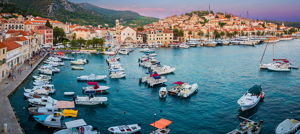 Hvar is a city and port on the island of Hvar, part of Split-Dalmatia County, Croatia. It is situated on a bay in the south coast of the island, opposite from the other nearby towns of Stari Grad and Jelsa.<br /> <br /> The city of Hvar has a long and distinguished history as center for trade and culture in the Adriatic. An independent commune within the Venetian Empire during the 13th to 18th centuries, it was an important naval base with a strong fortress above, encircling town walls and protected port. <br /> The port of Hvar, set in a picturesque natural bay, with the Pakleni Otoci island chain protecting it to the south, is a safe haven for boats year round. The city is a popular port of call for yachts sailing around the Adriatic, especially in the summer months. There are regular catamaran ferry services from the port between Hvar and Split, Brač, Korčula, Lastovo, and Vis.