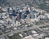 Aerial view of downtown Bellevue, taken from over the Wilburton neighborhood, east of I-405.