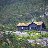 Europe, Norway, Lysefjord. Norwegian Home in Lysefjord.