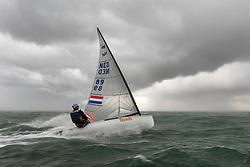 Nicholas Heiner training in Scheveningen. Nicholas will represent the Netherlands in the Finn class during  2020 Summer Olympics. 18 October 2019.