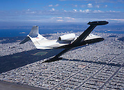 Lear35A with aerial view of San Francisco Bay and Golden Gate Park.