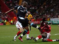 Photo: Tony Oudot.<br />Charlton Athletic v West Ham United. The Barclays Premiership. 24/02/2007.<br />Marlon Harewood of West Ham gets a shot on goal past Souleymane Diawara of Charlton