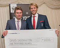 Andrew Triggs Hodge OBE presenting Lifestyle Award  Winner to David Saddington during the WWF UK Earth Hour 10th Anniversary Parliamentary Reception, Terrace Pavilion, Palace of Westminster. 28th Feb. 2017
