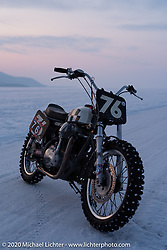 Aleksei Kalabin's Kawasaki w650 racer during the Baikal Mile Ice Speed Festival. Maksimiha, Siberia, Russia. Thursday, February 27, 2020. Photography ©2020 Michael Lichter.