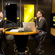 "Warsaw, Poland, February 28, 2013. Julia Wollner, Polish enterpreneur, Director of the magazine ""La Rivista"" interviewed at the Polish radio."