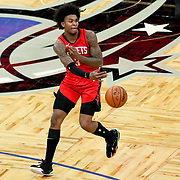 ORLANDO, FL - APRIL 18: Kevin Porter Jr. #3 of the Houston Rockets passes the ball against the Orlando Magic at Amway Center on April 18, 2021 in Orlando, Florida. NOTE TO USER: User expressly acknowledges and agrees that, by downloading and or using this photograph, User is consenting to the terms and conditions of the Getty Images License Agreement. (Photo by Alex Menendez/Getty Images)*** Local Caption *** Kevin Porter Jr.