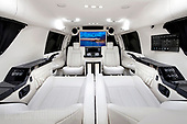 Luxury limousine comes fitted out with drinks cabinet, computer system and excerise bike