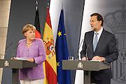 Mariano Rajoy and Angela Merkel at Moncloa