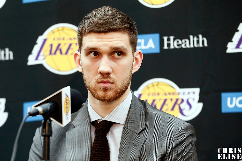 EL SEGUNDO, CA - JUN 26: NBA 2018 draft pick Moritz Wagner #15 of the Los Angeles Lakers answers questions during an introductory press conference at the UCLA Health Training Center on June 26, 2018 in El Segundo, California.