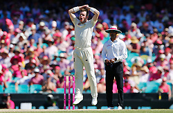 England's Mason Crane reacts during day two of the Ashes Test match at Sydney Cricket Ground.