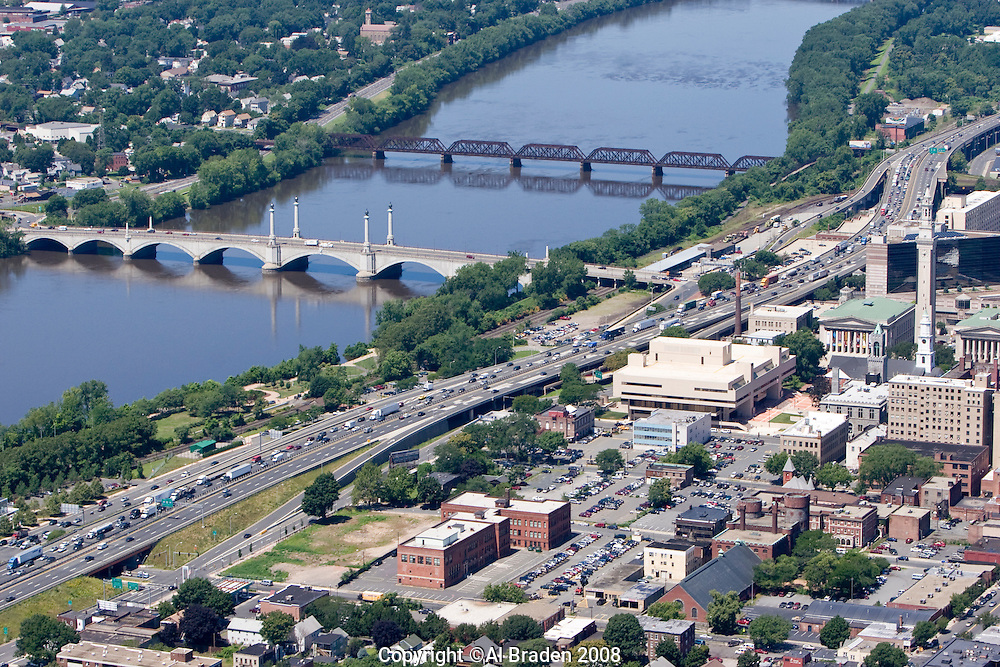 Skyline and Connecticut River at Springfield, MA