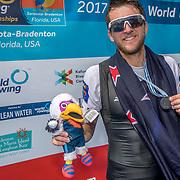 Matthew Dunham New Zealand Mens Lightweight Single Scull silver medalist <br /> <br /> Finals races at the World Championships, Sarasota, Florida, USA Friday 29 September 2017. Copyright photo © Steve McArthur / Rowing NZ