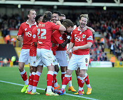 Bristol City's Kieran Agard celebrates with his team mates after scoring. - Photo mandatory by-line: Dougie Allward/JMP - Mobile: 07966 386802 - 01/11/2014 - SPORT - Football - Bristol - Ashton Gate - Bristol City v Oldham Athletic - Sky Bet League One
