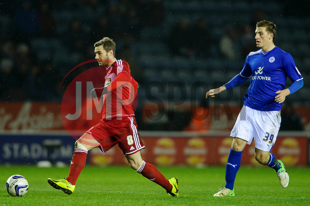 Middlesbrough Midfielder Kevin Thomson (SCO) breaks from Leicester Forward Chris Wood (NZL) during the second half of the match - Photo mandatory by-line: Rogan Thomson/JMP - Tel: Mobile: 07966 386802 18/01/2013 - SPORT - FOOTBALL - King Power Stadium - Leicester. Leicester City v Middlesbrough - npower Championship.