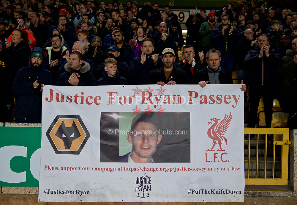 """WOLVERHAMPTON, ENGLAND - Monday, January 7, 2019: Liverpool supporters' banner """"Justice for Ryan Passey"""" before the FA Cup 3rd Round match between Wolverhampton Wanderers FC and Liverpool FC at Molineux Stadium. (Pic by David Rawcliffe/Propaganda)"""