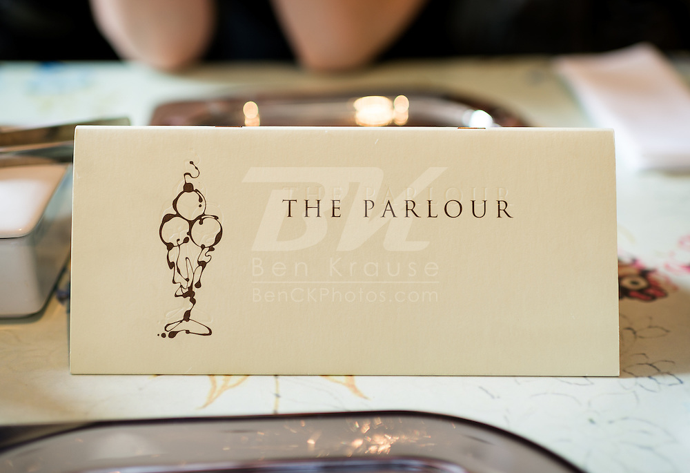 The Parlour in the department store of Fortnum & Mason.  The eclectic department store opened at this location in 1707 and features several restaurants including The Parlour, which is a sit-down ice cream and tea shop.