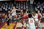 Southern California Trojans guard Drew Peterson (13) passes during an NCAA men's basketball game against the Stanford Cardinal, Wednesday, March 3, 2021, in Los Angeles. USC defeated Stanford 79-42. (Jon Endow/Image of Sport)