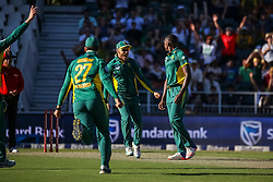 Kagiso Rabada of SA celebrates a wicket with Faf Du Plessis during the 2nd ODI match between South Africa and Australia held at The Wanderers Stadium in Johannesburg, Gauteng, South Africa on the 2nd October  2016<br /> <br /> Photo by Dominic Barnardt/ RealTime Images