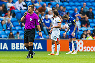 Today's referee Joshua Smith blows his whistle for full time at the EFL Sky Bet Championship match between Cardiff City and Bournemouth at the Cardiff City Stadium, Cardiff, Wales on 18 September 2021.